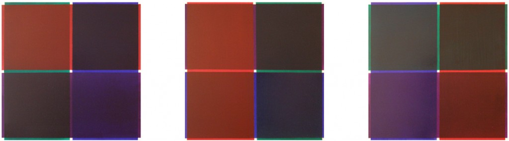 Dark Red, Green, Blue and Purple Triptych
